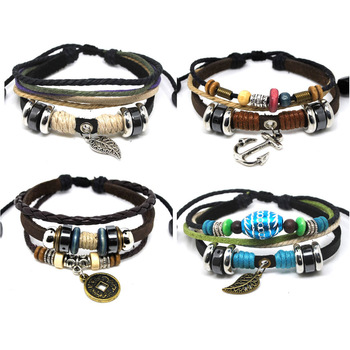 Promotion&free P&P~Wholesale Mix Lots 36 Assorted Handmade Leather & Hemp Surfer Beads Tilbet Bracelet Chain Present Gift Unisex