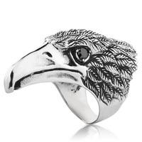 US Size 7-15 holesale Big BIKER MEN's STAINLESS Steel Silver Black Heavy Metal Eagle Head Ring FS BR8-080