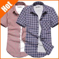2013 summer male short-sleeve shirt Oxford silk cloth fashionable casual plaid slim men's shirt easy care