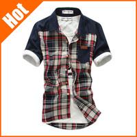 2013 men's fashionable trend newest casual short-sleeve shirt slim British Gentleman handsome shirt