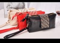 new arrive Hot selling PU Leather fashion designer Rivet bag women wallet Clutch Bag day clutch evening bags