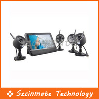 "Free Shipping 7"" LCD Wireless Baby Monitor 4 Channel Quad Security System DVR With 4 Cameras"