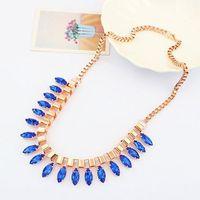 Blue Water Drop Geometric Gem Gold Chain Choker Bib Statement Necklaces & Pendants 2014 New Fashion Jewelry Women Wholesale N51