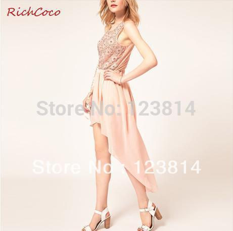 Front Shorter Back Longer Asymmetric Pure Colour Forked Tail Chiffon Skirt(China (Mainland))