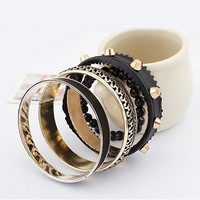 2013 Hot New Vintage Alloy Black Punk Bead Leather Statement Bracelets Bangles Set Fashion Jewelry for Women B0012