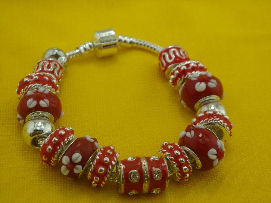 PB98 новый, 925 Серебряные бусы красные