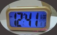 Gold Color Digital LED Calendar Blue Backlight Snooze Clever Alarm Clock Large LCD Display