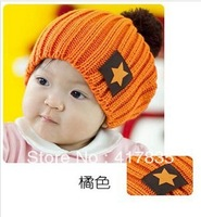 2013 new children's candy-colored knit wool cap labeling pentagram winte wool hats for children  3 colors
