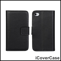 Genuine Leather Wallet Case for iPhone 4 4s
