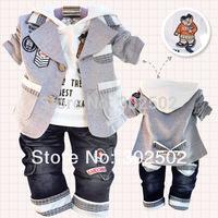 Retail, Chirdren Boys (Jacket+Shirt+Jeans) 3 Colors Bear Model 3pcs Suit, Baby Spring and Autumn Clothes Set