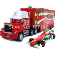 FreeShipping  Pixar Cars 2  MACK F1 TRUCK +Francesco Bernoulli Racer Diecast Alloy Red and White Toy Model