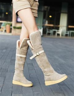 2013 autumn and winter fashion knee-length boots fur boots thermal nubuck leather snow boots female women's low-heeled boots