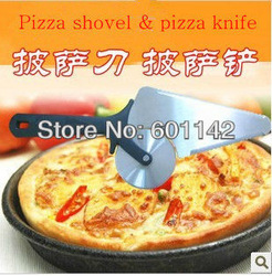 Hot selling multifunctional stainless steel pizza cutter and pizza shovel pizza knife with free shipping best pizza tool(China (Mainland))
