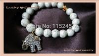 Free Shipping Women Beaded Bracelets White Howlite Turquoise K14 Plated Rhinestone Crystal Elephant Charm Bracelet