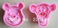 Free shipping 2 bear shape cake cookies machine plunger paste sugar craft decorating tools