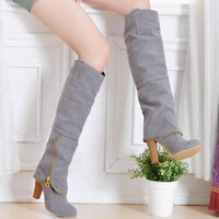 New arrival fashion Ladies knee boots zipper round  toe square heel easy matching High-heeled Shoes lb1004
