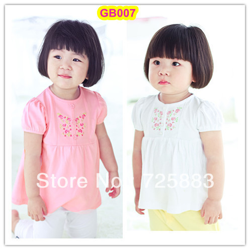 2013 Promotional Lovely Quality Baby Girl Blouses, Pink/White + rose embroidery + puff sleeve +high-waist pleats+ free shipping(China (Mainland))