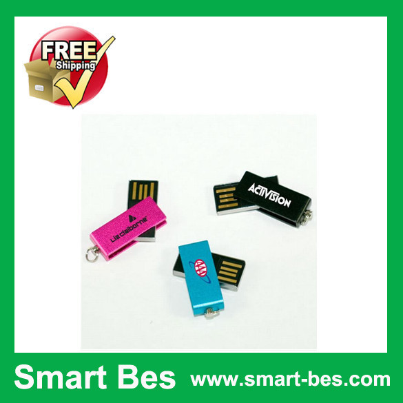 Smart Bes !~ gift water proof mini swivel usb flash drive 1GB 2GB 4GB 8GB 16GB Custom logo usb pendrive Free Shipping(China (Mainland))