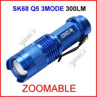 ( 100 pcs/lot ) SK68 Blue UltraFire CREE Q5 Zoomable Focus LED 300lumen Waterproof Mini 14500 AA Camp Flashlight Torch 3Mode