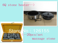 Hot massage stone set with hot stone heater--20pcs/set in wooden box and 6Q stone heater.