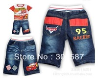 Retail  1set/lot ,2014 new Children boy Cartoon casual suit T-shirt + denim shorts pants sets,free shipping