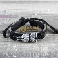 12pcs Cheap Sales Nepal Jewelry Cowhide Bracelet Recommend Genuine Leather Bangle Owl B0278