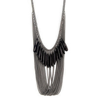 Hot-selling a202 Black White Gem Decoration Multi-layer Tassel Necklace for Women 66.5g Free Shipping