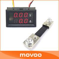"Mini 2in1 0.28"" DC 0-100V/100A Red LED Voltage Current Monitor Meter YB27-VA Voltmeter Amperemeter With Resistive Shunt #100044"