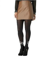 Free shipping Brown A line style casual PU leather short dress