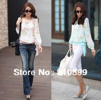 2014 New Arrival Fashion Flower Print Chiffon Blouses Long Sleeve Women's Floral Top Shirts Freeshipping#S008