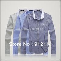 2014 brand casual stripe shirts for men,mens long-sleeved shirt,loose large size shirts men,plus size, freeshipping,M-5XL,C01