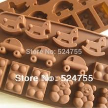 frete grátis novo estilo cavalo carro gelo forma chocolate decoração molde de silicone de bolo molde cozinha cozinha ferramentas(China (Mainland))