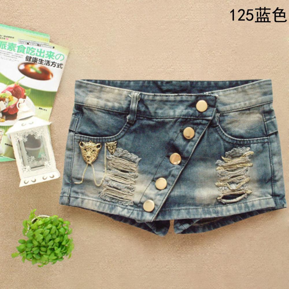 Hot 2014 fashion Rivets Ornament Denim jeans woman summer culottes skirts Vintage Hole cowboy Short pants size S,M,L,XL(China (Mainland))