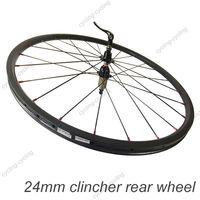 FREE SHIPPING 24mm clincher bike rear wheel 700c Carbon fiber road Racing bicycle wheel,single wheel