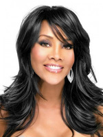 Sexy Natural Straight Synthetic WigsLong Black Wig  For African Black Women With Side Bangs Free Shipping