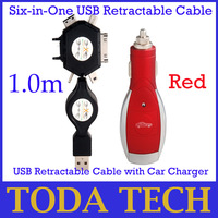 Free shipping Six-in-One USB Retractable Cable with Car Charger for iPhone 4 & 4S, Nokia, Mini, Samsung, Sony Ericsson - Red