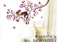 Free Shipping new design cute monkey wall sticker for room 50*70 cm DIY home decor papar