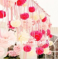 Free shipping(25pcs/lot) 12 inch (30cm) Tissue Paper PomPom flowers Wedding Party Decor Craft pompom flowers,15 color can choose