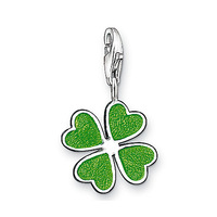 new fasion hot sale for man and woman gifts silver plated   small green lucky Clover  charm wholesale price-33232