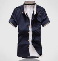 2013 men's clothing mushroom embroidery pocket short-sleeve shirt slim male short-sleeve shirt male