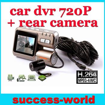 New G-Sensor H.264 1280x720p 60FPS Car Video Recorder DVR Camera w/2.0' LCD/IR Night Vision+IR Rear Camera