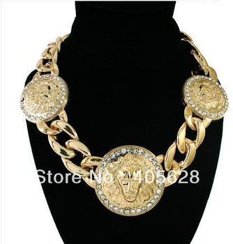 Crystal Three Lion Head Disc metal Chain Necklace
