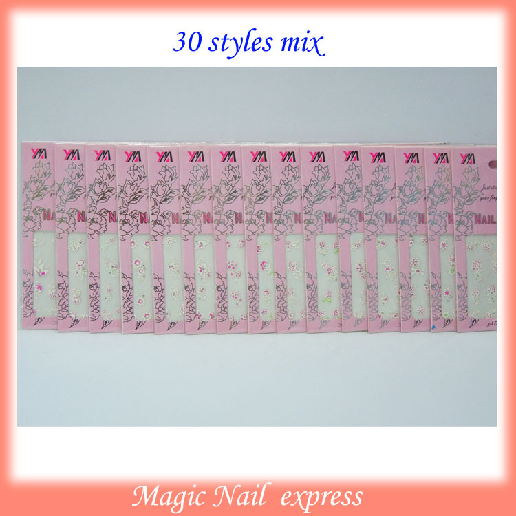 3D Nail Art Stickers Rhinestone glitter Flower Butterfly Heart tattoo party 30 sheets/lot(China (Mainland))