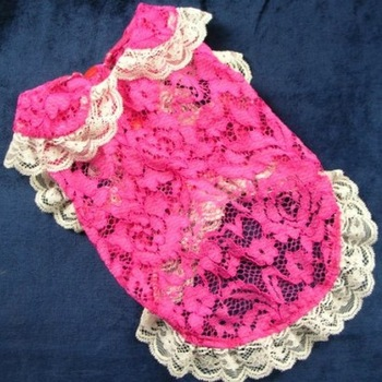 Pet Clothing Dog Supplies Pet Product Princess Rosy Red Openwork Lace Dress Perspective Cardigan Dog Clothes 1pcs/lot