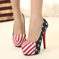 Women size 11 Red bottom high heels American flag heels Platform women Pumps autumn 2014