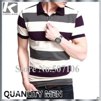 2013 Men's fashion summer 100%cotton stripe polo t-shirt, casual stylish short t-shirt for men, free shipping by china post