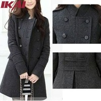 Free Shipping Women's Winter Wool Coat Double-breasted ,Gray/black ,S,M,L Woolen Coat