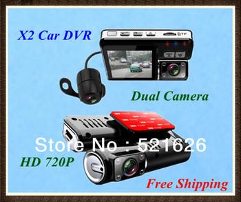 Free Shipping X2 HD 720P Mini Dual camera Car vehicle Camera Video Recorder DVR with G-Sensor , night vision