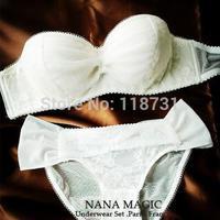New 2015 Sexy Brand Embroidery Bra Brief Sets Deep U Push Up Bra Set Women  Underwear Set brassiere Hot White Black