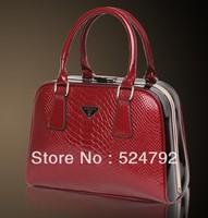 Free Shipping Genuine Cowhide Leather Women Handbag Totes Women Messenger Bags Retro Brands Shoulder Bag Croco  Banquet Fashion